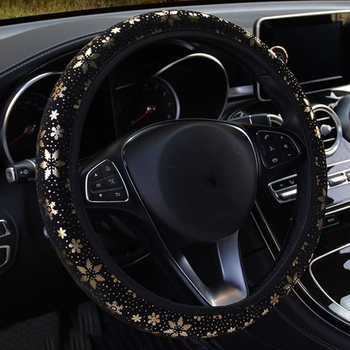 37-38cm Car Steering Wheel Cover Flash Gold Fantasy Snowflake Elastic Band Steering Wheel Cover Car Styling Accessories image