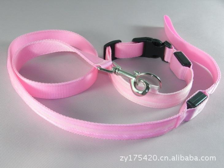 2.5 Cm Wire Screen Pet Set LED Light Dog Collar + LED Sling Fiber Pet Dog Lanyard