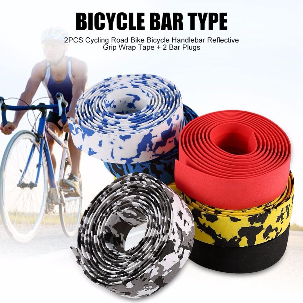 2PCS Bicycle Handlebar Reflective Grip Wrap Tape 2 Bar Plug Cycling Road Bike