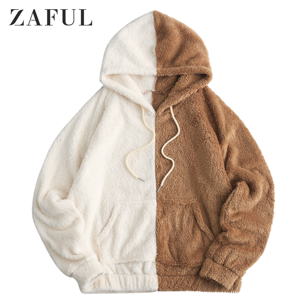 ZAFUL Front Pocket Fluffy Loose Hoodie For Men Drawstring Hoodie Fall Colorblock Pullovers Oversize Hoodie Sweatshirts Casual