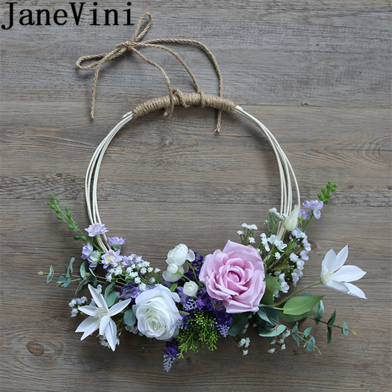 JaneVini White Purple Roses Bride Wreath Artificial Lavender Wedding Flowers Bridal Bouquets Accessories Lei Garland Basket 2019