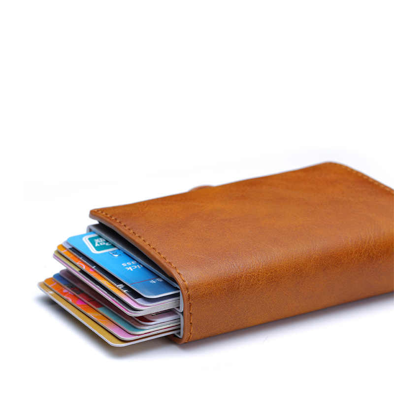 Carbon Fiber Mannen Credit Kaarthouder Dubbele Portemonnee Anti Rfid Security Metalen Leer Kaarthouder Pocket Business Bank Creditcard