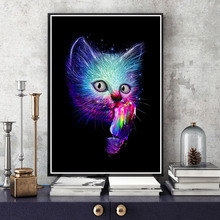 Modern Watercolor Animal Art Cat Canvas Painting Wall Art Cats Posters and Prints for Living Room Wall Pictures Home Wall Decor недорого
