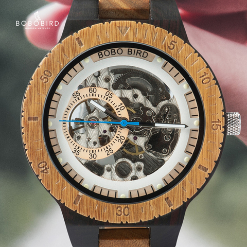 Relógios de Pulso Relógios de Madeira Masculino-caixas de Relógio de Madeira Bobo Pássaro Relógio Masculino Automático Mecânico Multifuncionais C-gr05
