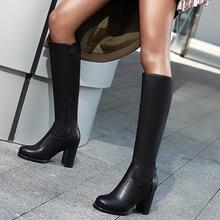 Shoes Spring Winter Boots Knee High-Heels Autumn Big-Size Women Fashion Pu 34-43