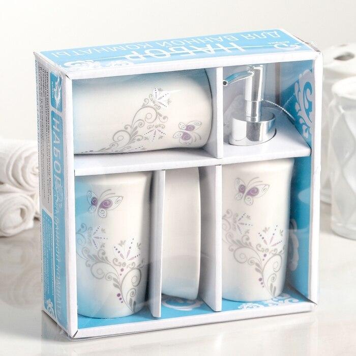 "Bathroom accessories set ""Grace"", 4 items (250 ml dispenser, soap dish, 2 glasses)"