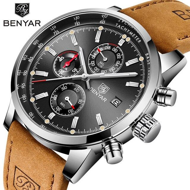 Reloj de cuarzo BENYAR a la moda con cronógrafo deportivo de lujo para Hombre
