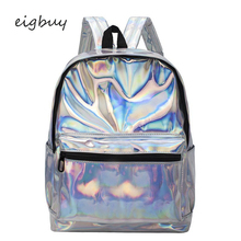 Teenage Girls Leather Holographic School Bags Fashion Students Women Silver Hologram Clear Backpack Laser Bag For Sac A Dos celldeal mini hologram ladies women backpacks laser leather holographic mini multicolor for student school bags pink silver