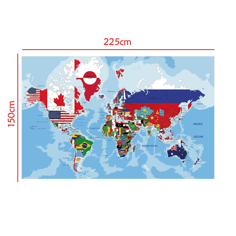 150x225cm Non-woven World Physical Map With National Flags Plate For Office And School Wall Decor