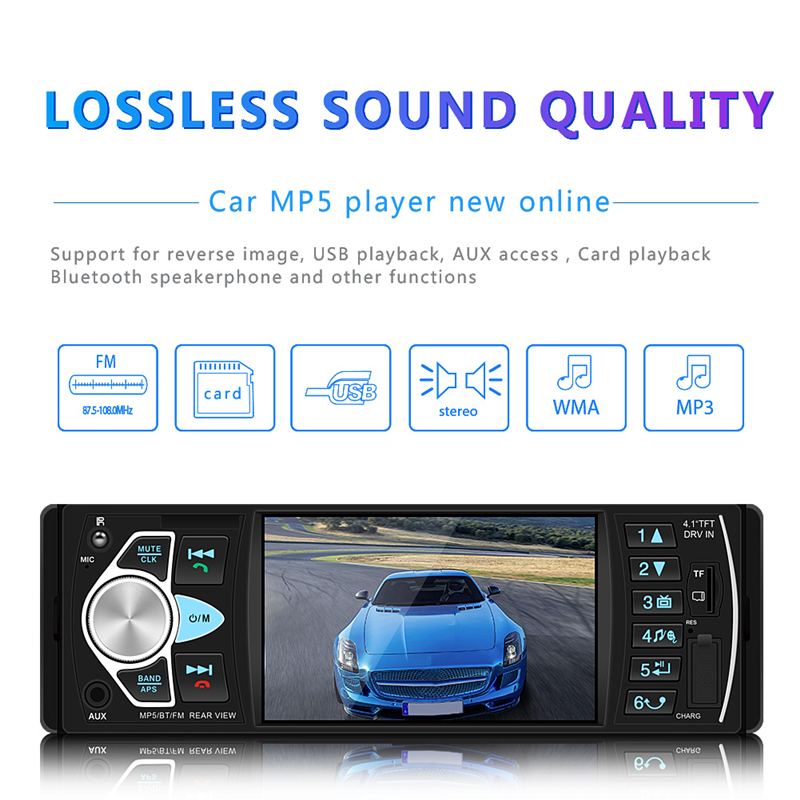 4 Inch 1 Din For Android Car Radio Automotivo Video Multimedia Player Autoradio FM Bluetooth Multimidia Bluetooth MP5 Player image