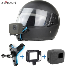 SOONSUN 오토바이 헬멧 프론트 턱 브래킷 홀더 스트랩 마운트 + 방풍 폼 + 프레임 케이스 GoPro Hero 7 6 5 액세서리