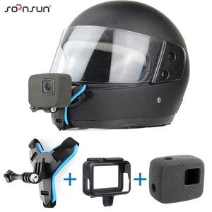 Image 1 - SOONSUN motosiklet kask ön çene braketi tutucu askı dağı + rüzgar geçirmez köpük + çerçeve kılıf GoPro Hero 7 6 5 aksesuarları