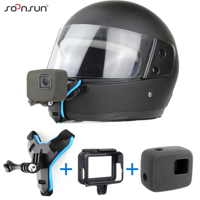 SOONSUN motosiklet kask ön çene braketi tutucu askı dağı + rüzgar geçirmez köpük + çerçeve kılıf GoPro Hero 7 6 5 aksesuarları