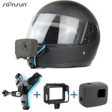 Soonsun capacete da motocicleta frente queixo suporte titular cinta montagem + espuma à prova de vento caso quadro para gopro hero 7 6 5 acessórios