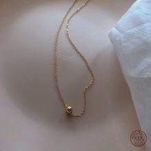 Collier universel pour femmes, chaîne de clavicule, en argent Sterling 925, petit pendentif en haricot doré, Simple cadeau de beauté, doux ami