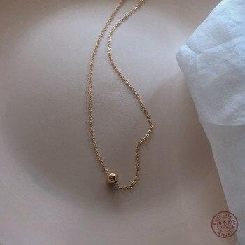 Collar de cadena de clavícula de Plata de Ley 925 para mujer, colgante Universal de frijol dorado pequeño, regalo de joyería para amigos de belleza dulce Simple