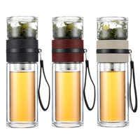 Tazas de separación de té personalizado doble vidrio portátil filtro mano creativo hombres y mujeres tazas de agua mezcladoras mini mezcladora