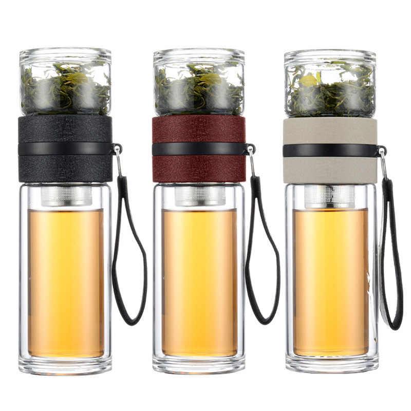 Портативные чашки для разделения чая из двойного стекла, креативный ручной фильтр для мужчин и женщин, мини-блендер, миксер