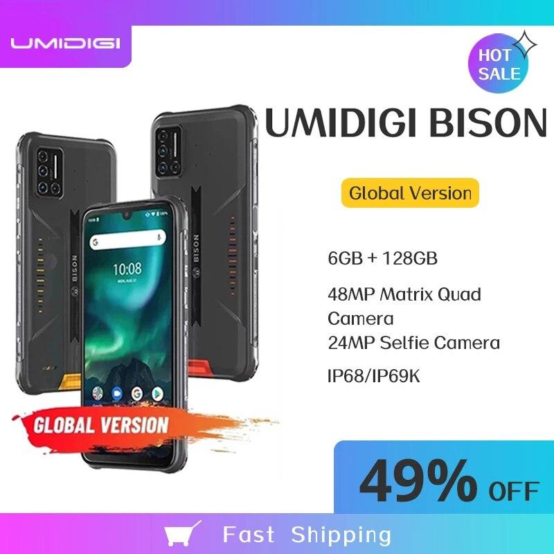 UMIDIGI Зубр 6 ГБ/8 ГБ + 128 Гб NFC Смартфон IP68/IP69K Водонепроницаемый прочный телефон 48MP Quad Camera 6,3