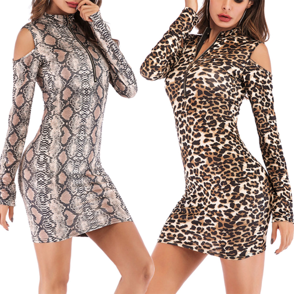 women mini dress long sleeve high neck leopard sexy bodycon turtleneck Hollow Out spring autumn fitness party Club clothes s-xxl image