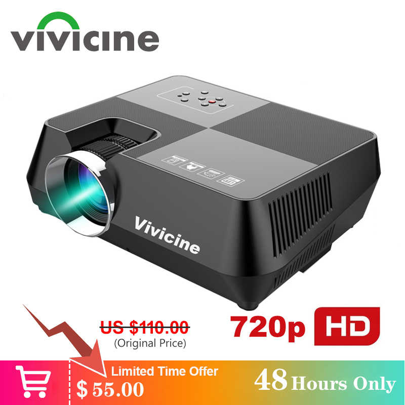 Vivicine 720P HD Proyektor, opsional Android WIFI Bluetooth HDMI USB PC Mini LED Projector Handheld Film Beamer untuk Permainan Video