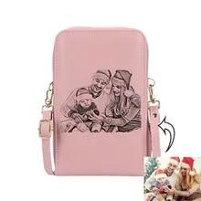 Wallet Purses-Card-Holder Gift Photo Custom Women Engraving Fashion Zipper Name Mobile-Phone-Bag