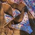 Цветочный принт женский купальник бикини сексуальный бандаж, бикини, складки, набор бикини, ванный комплект для женщин пляжная одежда бикин...