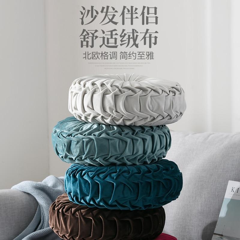 He093ff809a3c43f291a5ba1af0367426b Velvet Pleated Round Floor Cushion Pillow Pouf Throw Home Sofa Decor