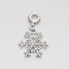 2019 Christmas snowflake pendant bead fit original pandora charms jewelry diy bead bangle for women trendy gift(China)
