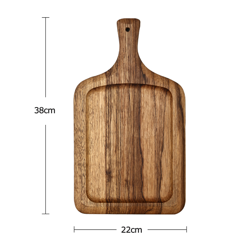 RoundSquare Wood Cutting Board Large Wooden Pizza Tray Bread Board Cake Serving Plate Tray Kitchen Chopping Board Wood Utensils (2)