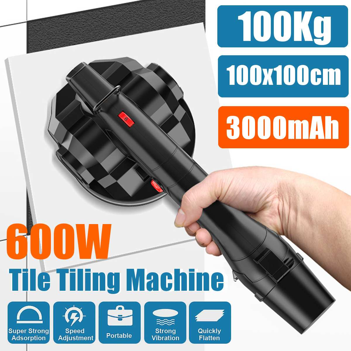 600W Vibrator For Tiles 100x100cm Tiling Plastering Machine Laying Tiles With 3000mAh Battery Automatic Floor Vibrator Leveling