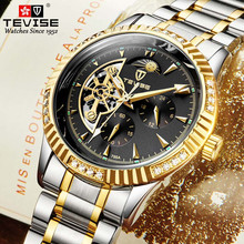 TEVISE-Reloj de pulsera deportivo Tourbillon para hombre, automático, para edad, relojes mecánicos