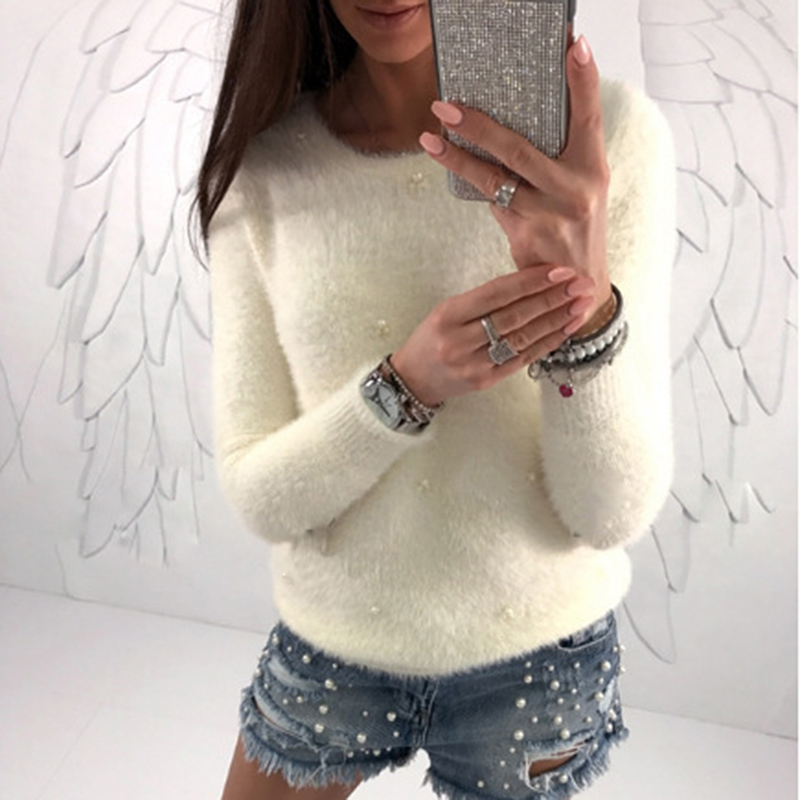 LOOZYKIT Autumn Winter Sweaters Women Solid O Neck Pullovers Bead Plush Knitted Sweater Female Pull Femme Hiver Jersey Mujer