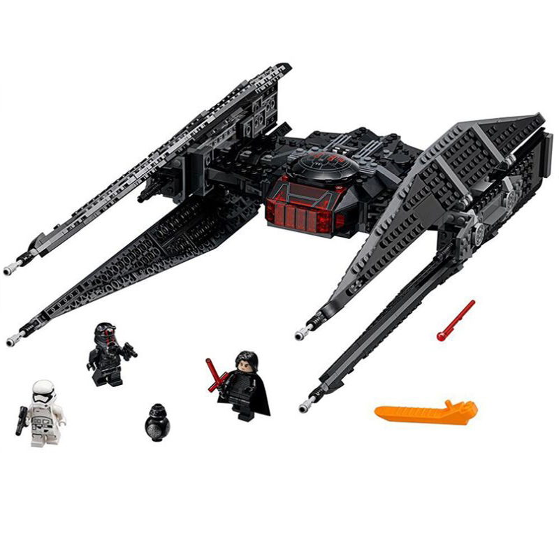 10907 705Pcs Star Wars Kyloes Ren Tie Fighters Block Brick Starwars Figures Toy For Children Weapon Christmas Gift Lepining 1