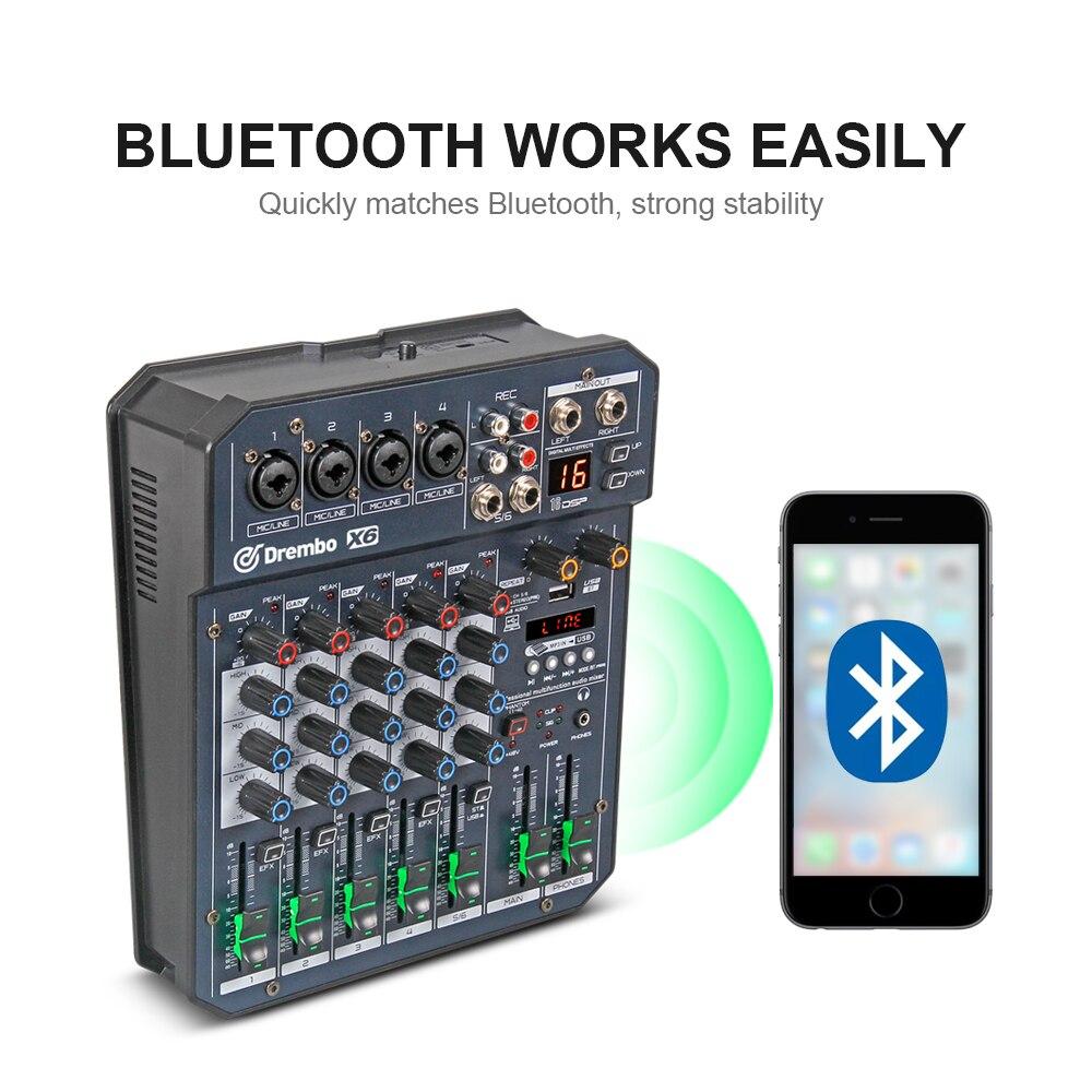 Console de mixage audio numérique portable professionnel X4/6 canaux avec carte son à effet DSP, bluetooth, USB, pour enregistrement DJ PC - 3