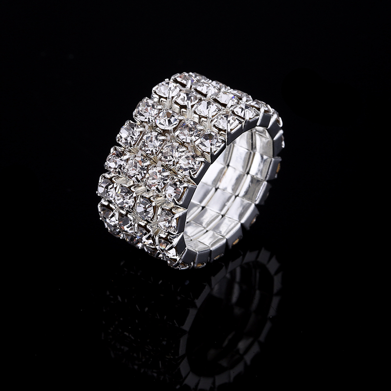2017 Hot Sale Top Fashion Channel Setting Party Classic Jewelry Anillos Stunning Multi Row Diamante Stretch Rings For Women 4