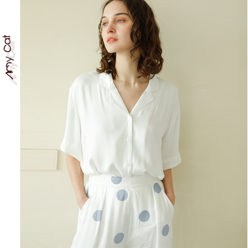 2020 Spring Simple Satin Short Sleeve Trousers Pajamas Suit Blue Dots Printing Pijama Womens Luxury Sexy Clothes White 2 Piece