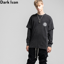 Dark Icon Bandana Pocket Hip Hop T-shirt Men Women Long Sleeve Street Dance Mens Tshirts Cotton Tee Shirts Streetwear