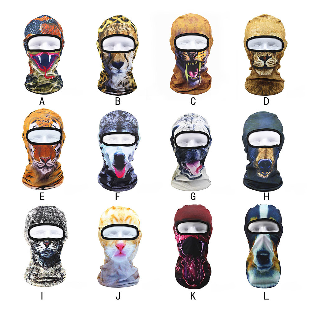 3D Animal Outdoor Print Ski Masks Windproof Bike Cyling Beanies Winter Wind Stopper Face Hats Riding Sport Bike accessories New