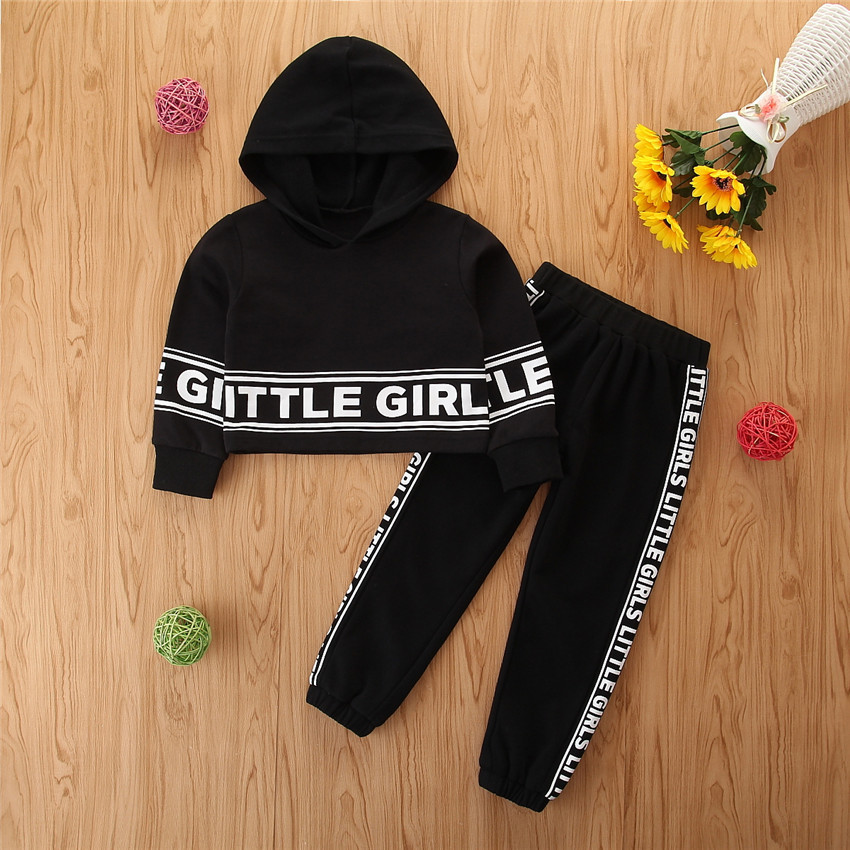 2021 Black Hoodies Outfits for Baby Boys Sport Letter Hoodies Sets Cool Little Girls Hoodies+pants Pullover Top for Unisex Kids