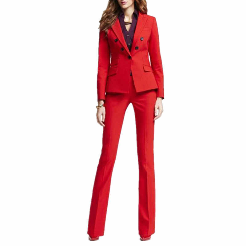 Red 2 Piece Set Women Business Suits Blazer With Pants Ladies Office Uniform Formal Pant Suits For Weddings Tuxedo Custom Pant Suits Pants Suits For Weddingbusiness Woman Suit Aliexpress