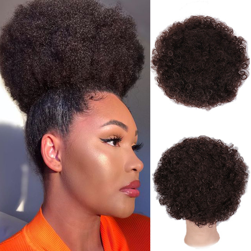 SHANGKE Synthetic Hair Bun Kinky Curly Afro Puff Chignon Drawstring Ponytail Natural Fake Hair Extensions For Women Black Brown