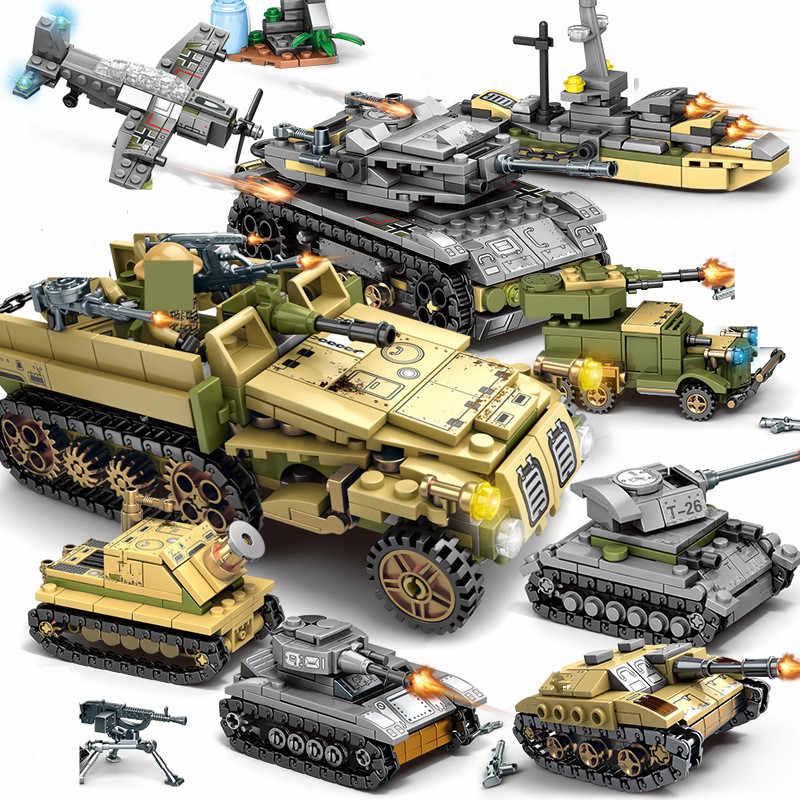 1061Pcs Military Technik Eisen Reich Tank Bausteine Sets Waffe Streitwagen Armee Soldaten Juguetes Playmobil Kinder Spielzeug