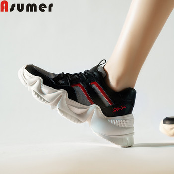 ASUMER 2020 new flats shoes women round toe mesh+cow leather shoes casual sneakers mixed color flat platform shoes women flats