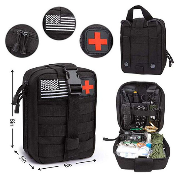 Emergency Survival Kit 47 Pcs Survival First Aid Kit SOS Tactical tools Flashlight Knife with Molle Pouch for Camping Adventures 2