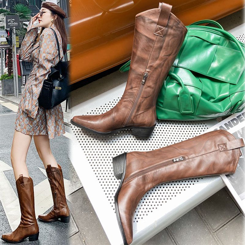 V Mouth Pointed Retro Knee-High Boots Mixed Colors Gladiator Boots Women Comfortable Zipper Microfiber Shoes Women Buty Damskie