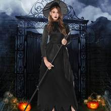 Halloween Cosplay Costumes Women Black Witch Dress Medieval Gothic Masquerade Vintage Maxi Dress Cosplay Suit Drop shipping c(China)