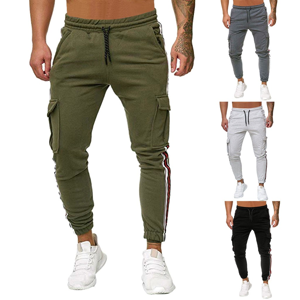 2019 Sweatpants Jogger Men Splicing Pure Color Overalls Casual Pocket Sport Work Casual Trouser Pants Dropshipping18 Sportswear