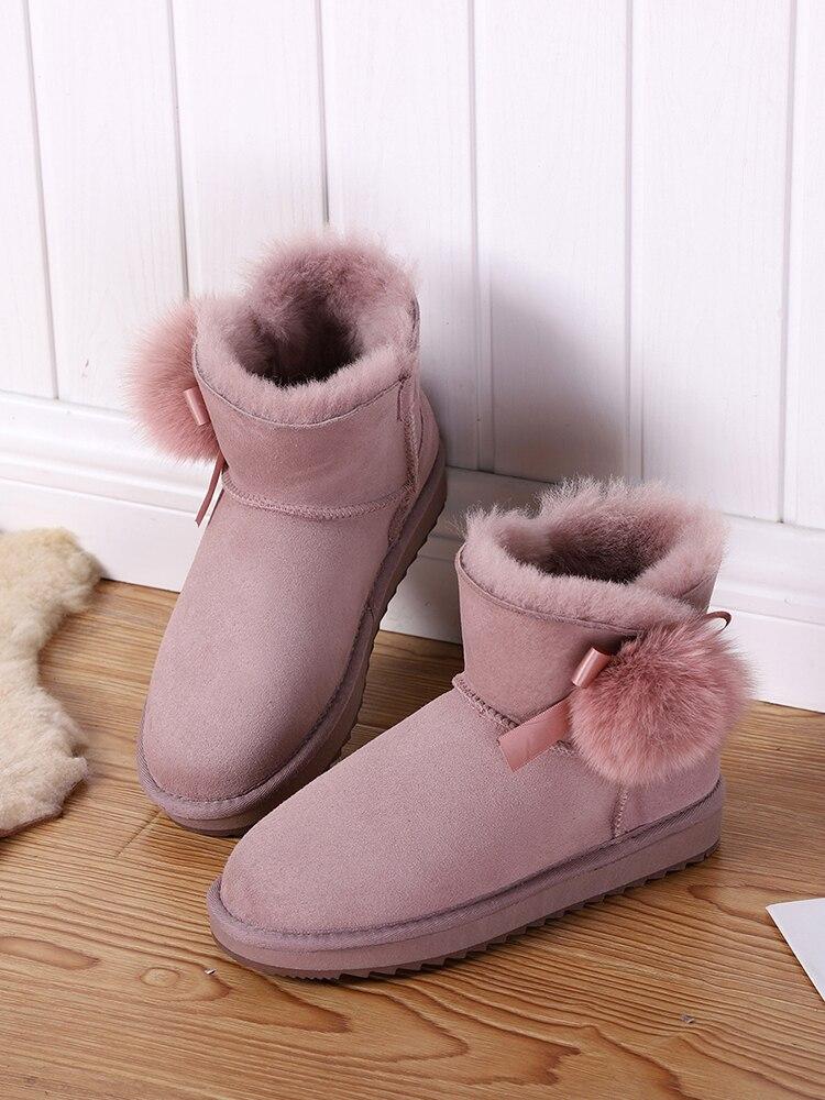 Winter Boots Shoes Shearling Suede Girls Women Sheepskin Ankle Mbr Force Short Fur Wool