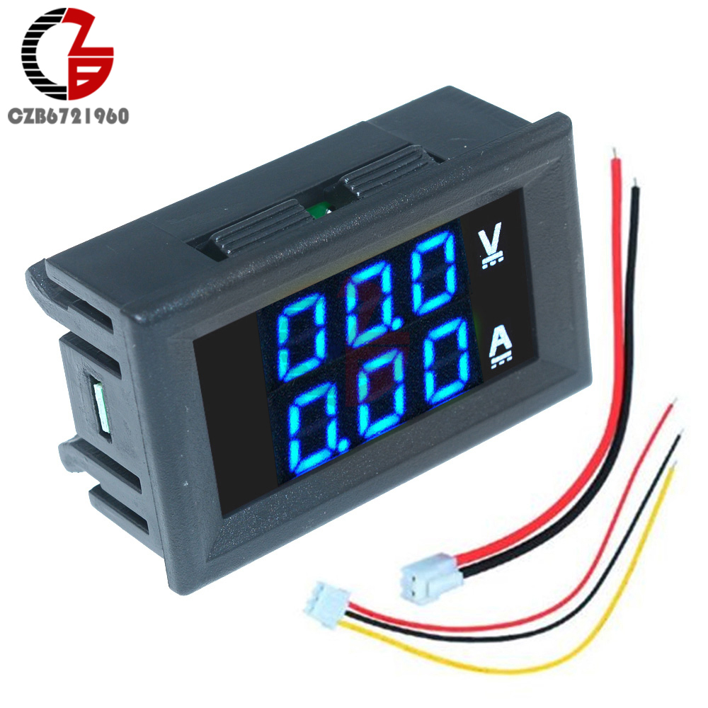 DC 0-100V 0-10A Digital Voltmeter Ammeter 12V 24V 36V 48V Car Motorcycle Electric Bicycle Voltage Current Meter Battery Tester